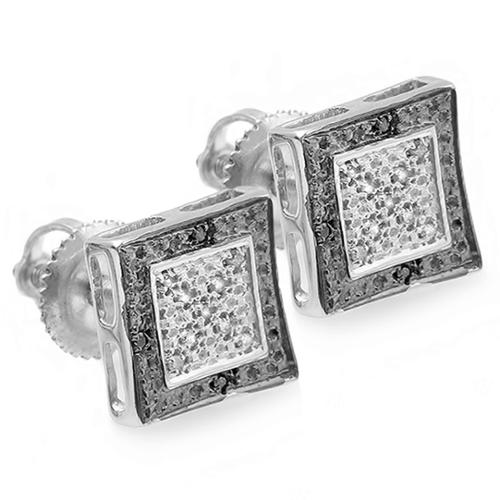 Sterling Silver 1/10ct TDW Black and White Diamond Pave Stud Earrings (I-J, I2-I3)