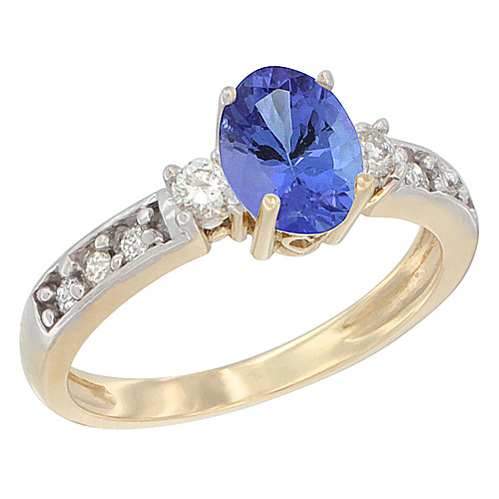 10k Yellow Gold Natural Tanzanite Ring Oval 7x5 mm Diamond Accent, sizes 5 10 by Tanzanite Rings