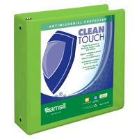 """Samsill Clean Touch 3"""" Round Ring View Binder Protected by Antimicrobial Additive, Lime Green"""