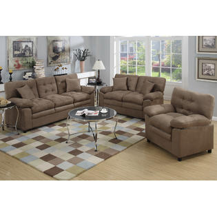 Foligno 3 Piece Living Room Set Upholstered In Microfiber