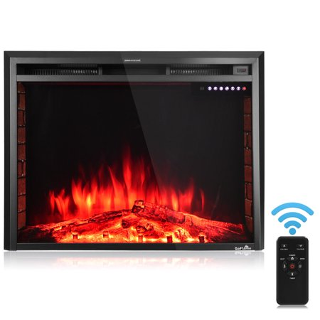 GoFlame 36'' 750W-1500W Fireplace Heater Electric Embedded Insert Timer Flame Remote ()