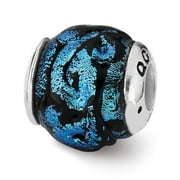 Dichroic Glass & Sterling Silver Blue Bead Charm, 13mm
