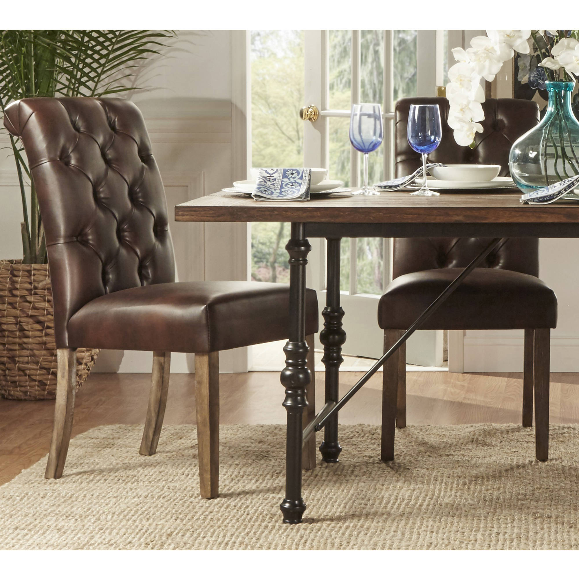 Weston Home Rolled Top Tufted Dining Chair, Set of 2, Multiple Colors