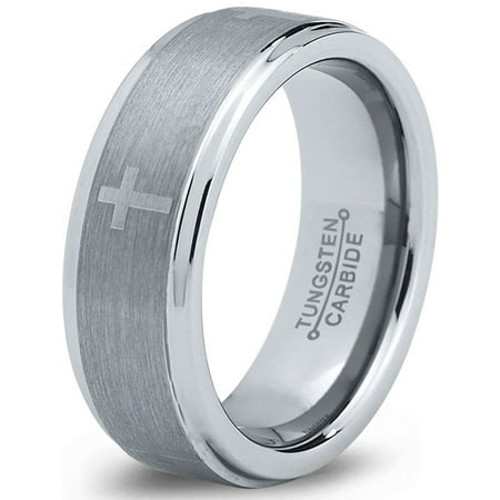 Gents Ring (Tungsten Wedding Band Ring 8mm for Men Women Comfort Fit Christian Cross Step Beveled Edge Brushed Lifetime)