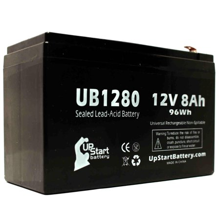 Compatible Briggs & Stratton 497395 Battery - Compatible UB1280 Universal Sealed Lead Acid Battery (12V, 8Ah, 8000mAh, F1 Terminal, AGM, SLA) - Includes TWO F1 to F2 Terminal Adapters - image 2 de 4