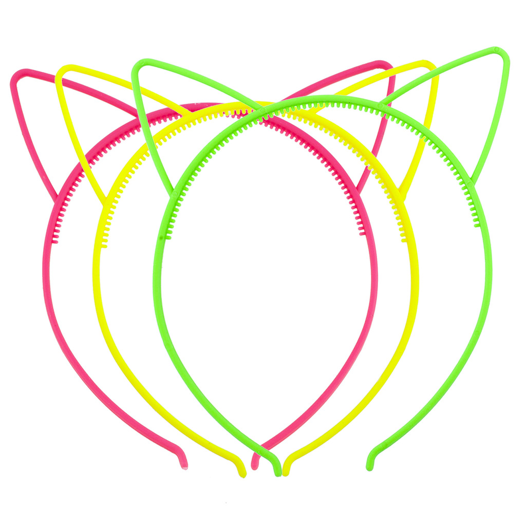 Lux Accessories Shades of Neon Cat Ear Headband For Girls Party Favor Set 3PC