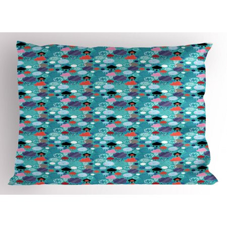 Clouds Pillow Sham, Autumn Weather Pattern Hand Drawn Sketch Style Colorful Clouds and Raindrops Design, Decorative Standard Size Printed Pillowcase, 26 X 20 Inches, Multicolor, by Ambesonne