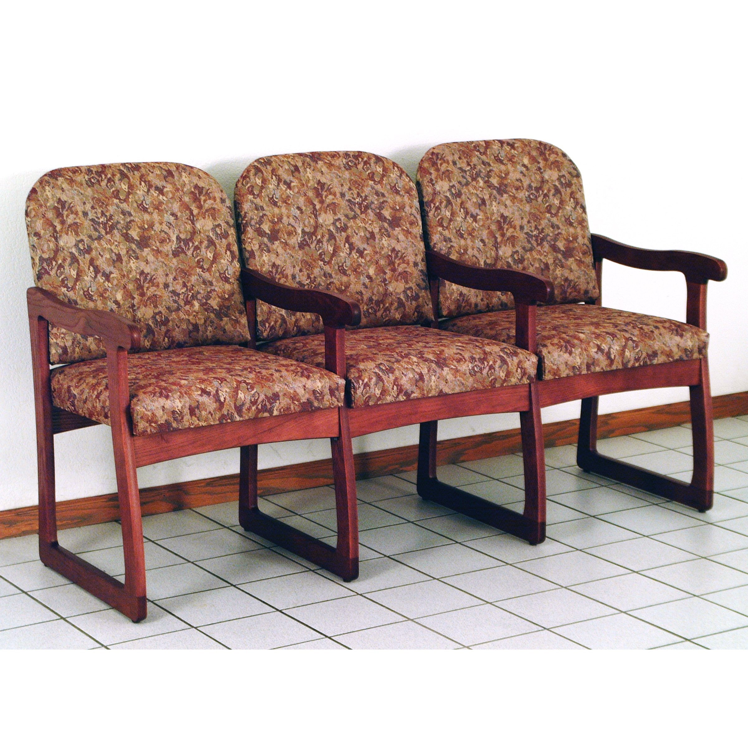 Wooden Mallet DW7-3 Solid Oak 3-Seat Chair with Center Arms