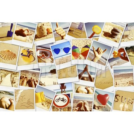 Mosaic with Pictures of Different Summer Scenes in Vintage Style. Print Wall Art By nito