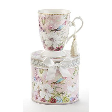 Delton Porcelain Tea / Coffee Mug in Gift Box Daisy Bird