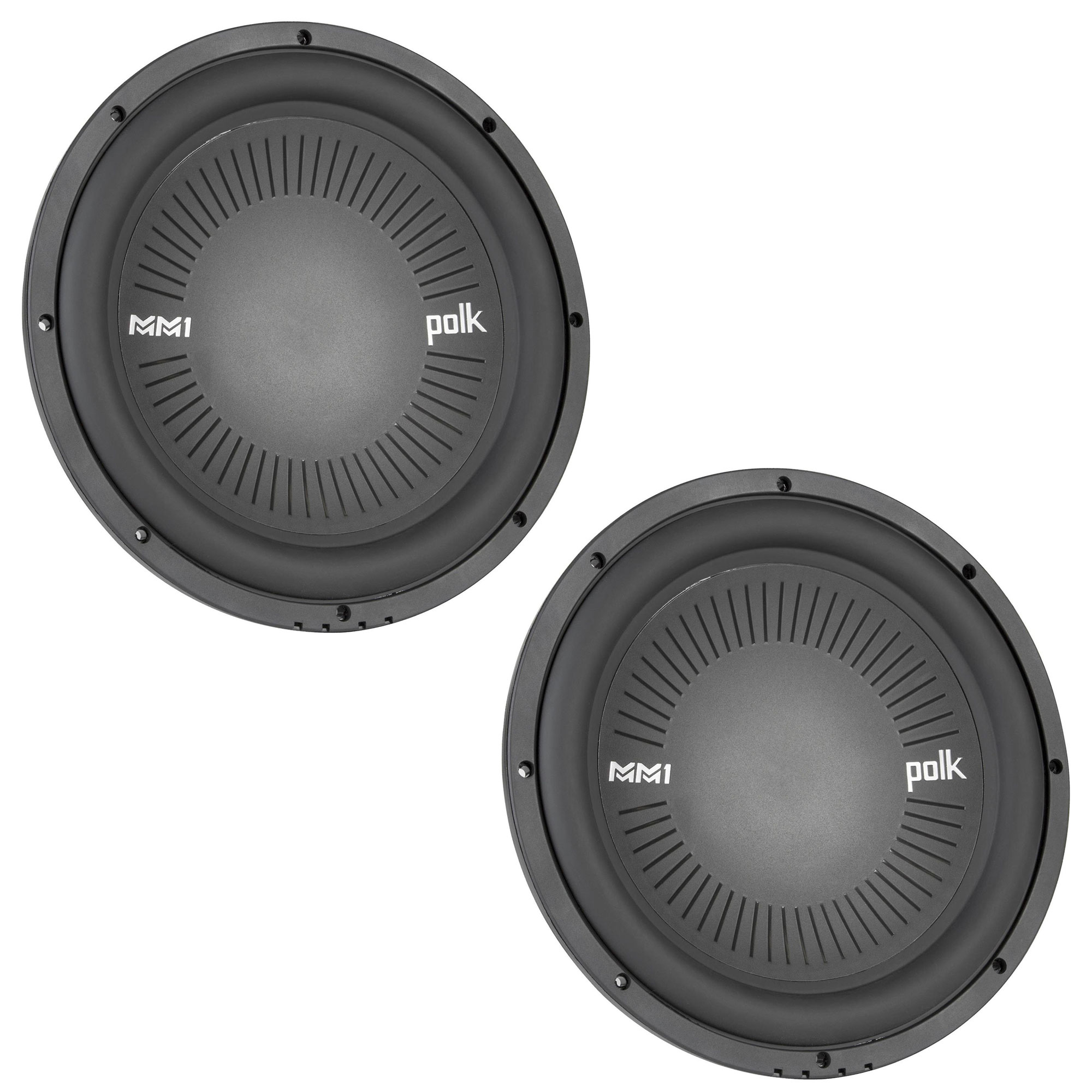 """Polk MM1 Series 10"""" 1200W 4 Ohm Single Voice Coil Marine Subwoofer (2 Pack)"""