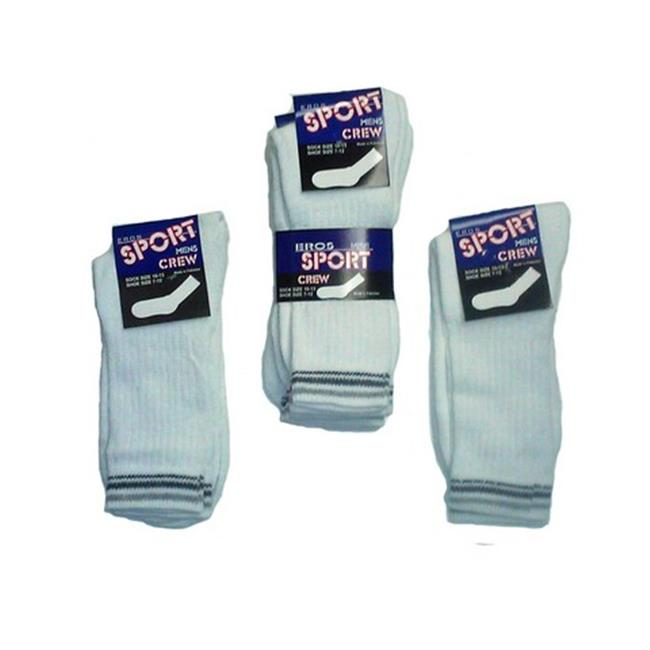 YDB 10 to 13 Crew Socks, White with Stripes - Case of 60