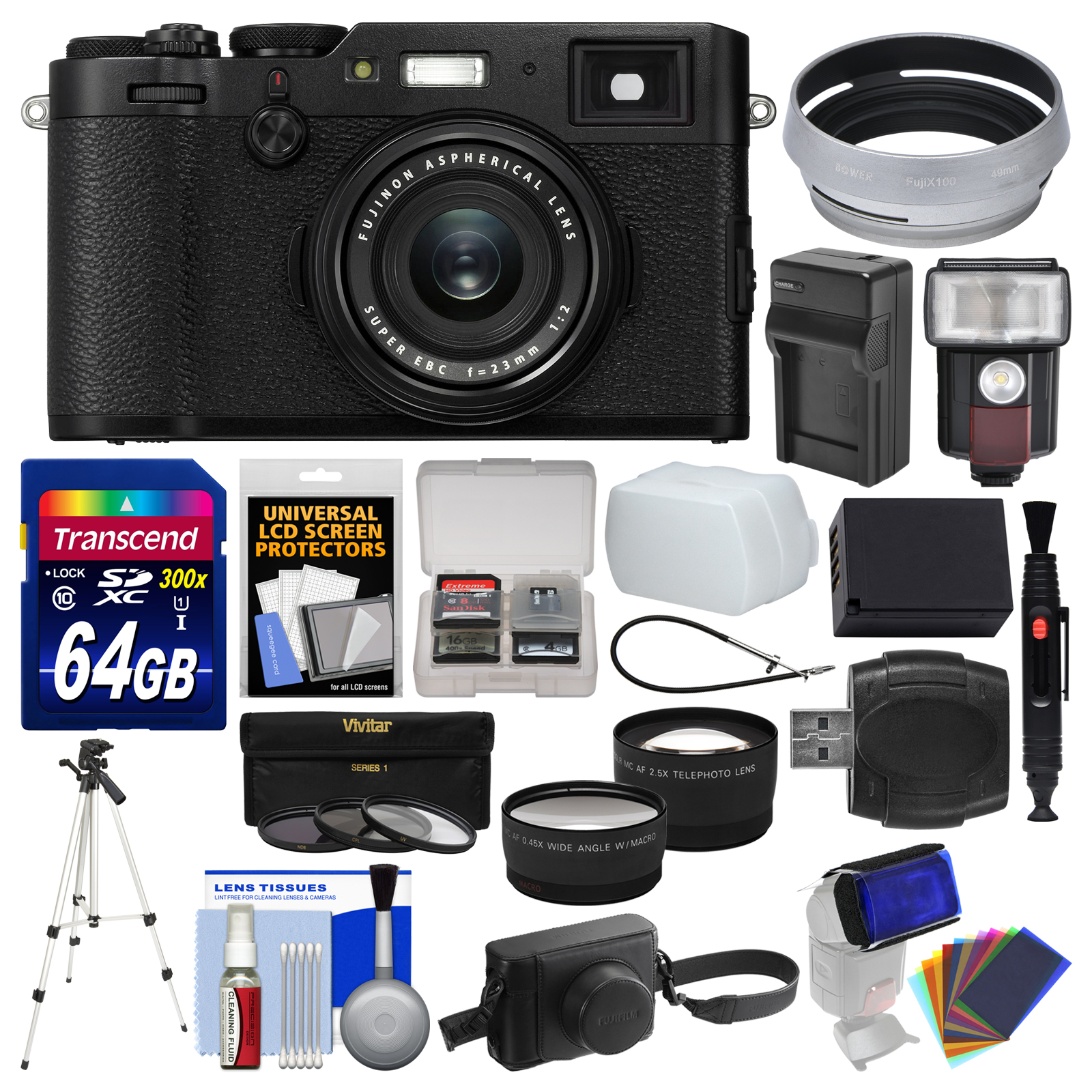 FujiFilm X100F Wi-Fi Digital Camera (Black) with Leather Case + 64GB Card + Flash Video Light + Battery &... by Fujifilm