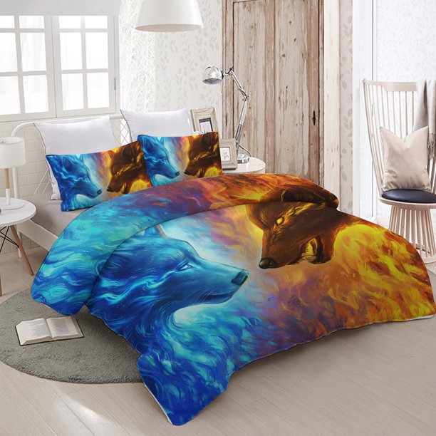 Arightex 3 Piece Full Size 3D Bedding Duvet Cover Set, Fire and Ice Wolf Decorative Pattern Printed, Gift for Kids Teens Boys Girl Children Women, Wild Animal Bed Comforter Quilt Cover , Bedroom Decor