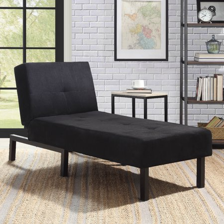 Mainstays 3-Position Chaise Lounge, Black Microfiber Upholstery ()