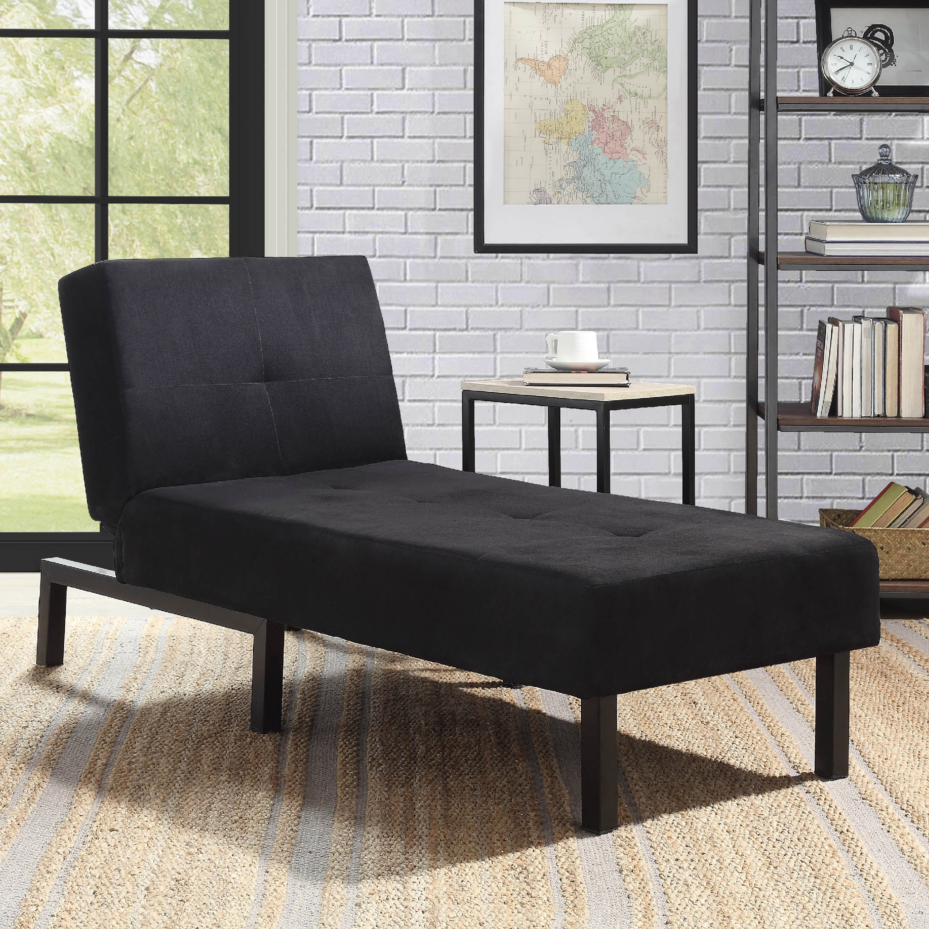 Mainstays 3-Position Chaise Lounge, Black Microfiber Upholstery
