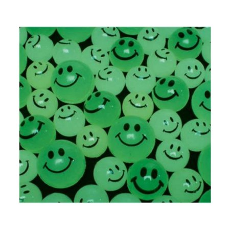 24 GLOW IN THE DARK SMILEY BOUNCY SUPER BALLS, HIGH BOUNCE, SMILE, 27 MM SUPER BALLS, GLOW IN THE DARK. By Unbranded