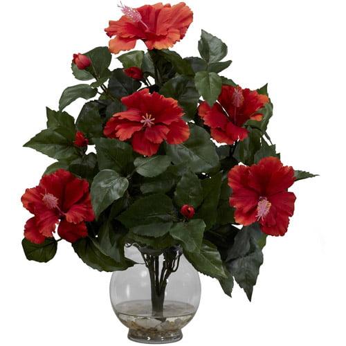 Hibiscus with Fluted Vase Silk Flower Arrangement