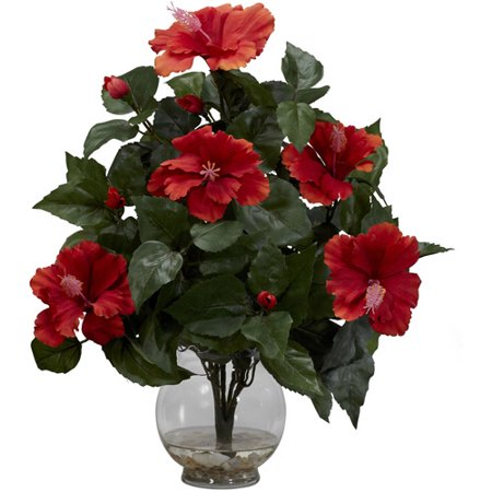 Nearly Natural Hibiscus with Fluted Vase Silk Flower Arrangement - Cheap Flower Arrangements