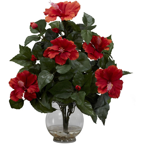 Hibiscus with Fluted Vase Silk Flower Arrangement