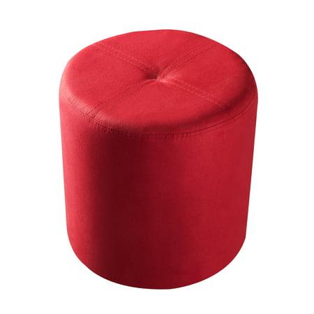 Pilaster Designs Round Ottoman Stool, Round Red Ottoman