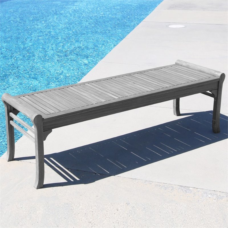 Pemberly Row Backless Outdoor Bench in Natural