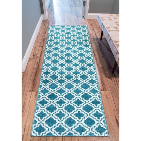 Modern Rug Calipso Blue 2'X7'3'' Runner Lattice Trellis Accent Area Rug Entry Way Bright Kids Room Kitchn Bedroom Carpet Bathroom Soft Durable Area Rug ()