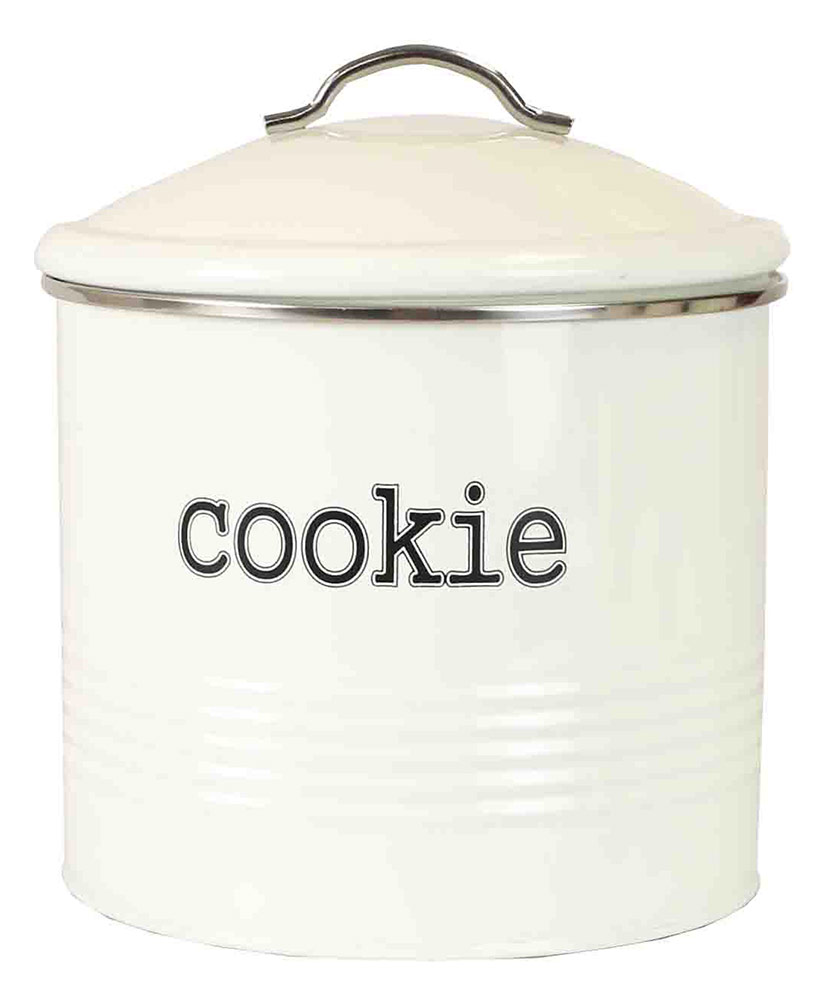 Click here to buy Home Basics Tin Cookie Jar, Ribbed Design, Ivory, 7.6x7.5 Inches by Home Basics.