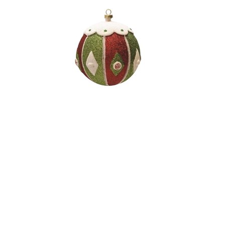 Merry & Bright Red White and Green Glitter Shatterproof Christmas Ball Ornament 4