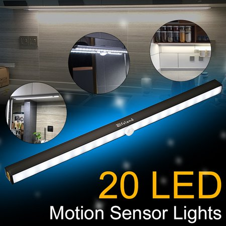 Battery Operated Under Cabinet (LED Closet Lights, Elfeland Under Cabinet Lights 20 LED Motion Sensor Lights Battery Operated Wireless Under Cabinet Lighting LED Night Light Bar for Closet Cupboard Pantry Stair )