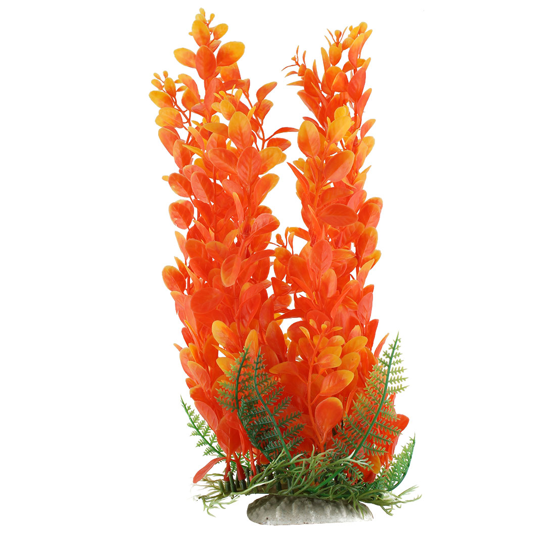 Aquarium Fish Tank Ceramic Base Plastic Artificial Underwater Plant Decor Orange