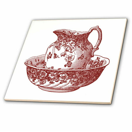 9 Inch Pitcher - 3dRose Maroon Red Antique Pitcher And Bowl - Ceramic Tile, 12-inch