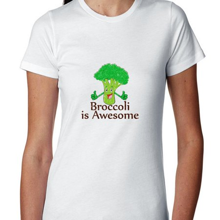 Broccoli Is Awesome! - Thumbs Up Smiling Vegetable Women's Cotton T-Shirt (Thumbs Up Thumbs Down)