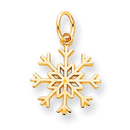 10k Yellow Gold Polished Snowflake Charm Pendant 20mmx21mm Crystal Snowflake Charm