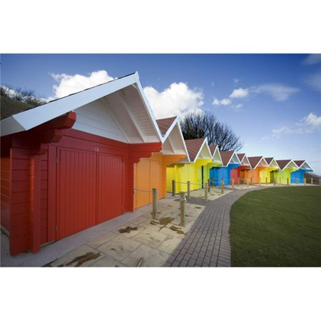 Posterazzi DPI1825719 Colorful Beach Huts Scarborough North Yorkshire England Poster Print by John Short, 18 x (Beach Huts Scarborough)
