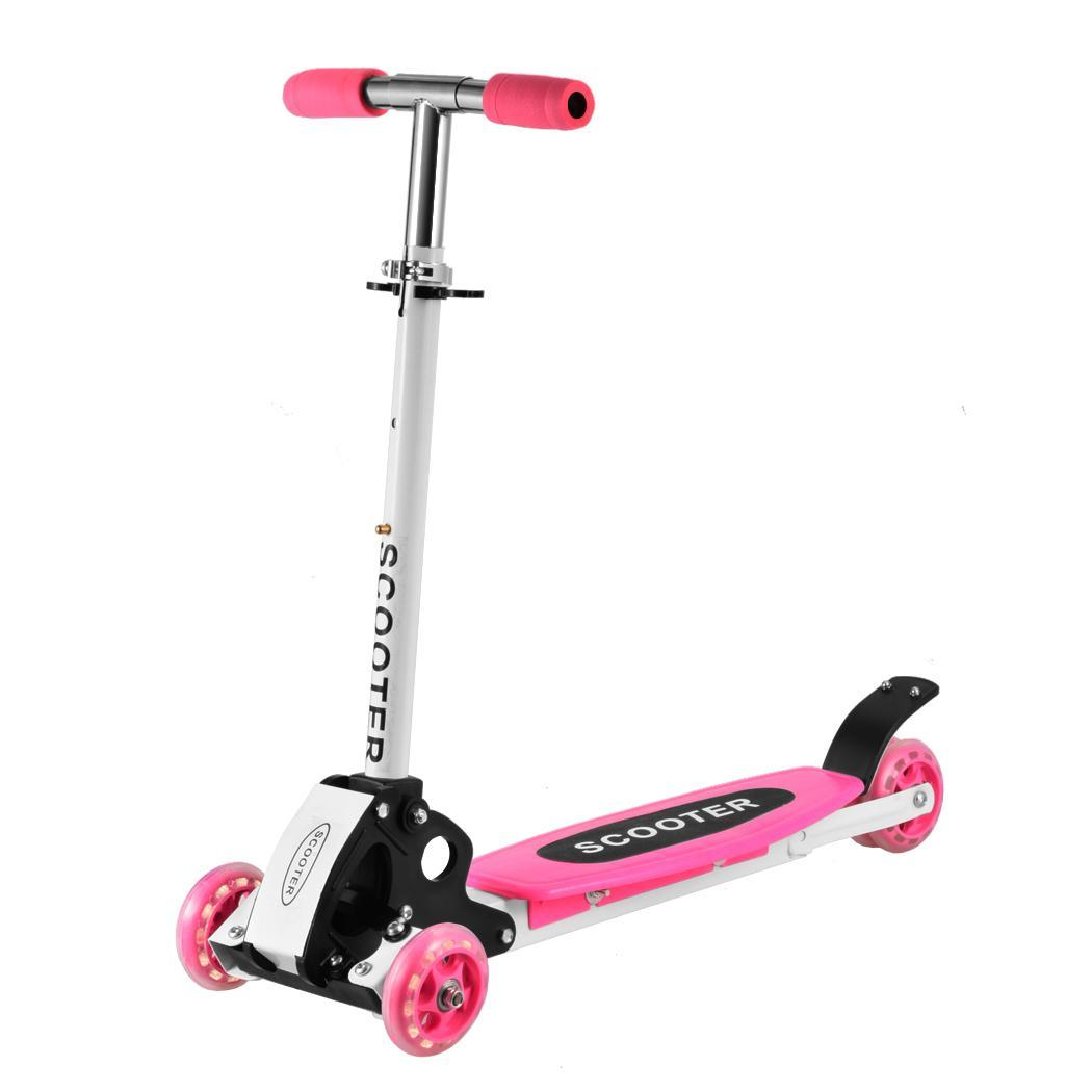 Portable and lightweight 3 Wheel Kid Mini Kick Scooter T-bar Adjustable Height Handle for... by