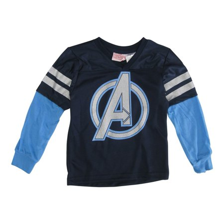 s Little Boys Navy Captain America Stripe Sleeve V-Neck Shirt 4T-7](Navy Blue Suits For Boys)