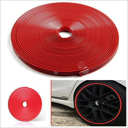 26FT/8M Red Car Wheel Hub Rim Trim Protector Tire Guard Sticker Strip (Vinyl Rim Guard)