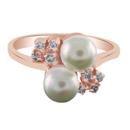 Freshwater Pearls Pearl Shape (Round Shape White Cubic Zirconia & Freshwater Pearl Engagement Ring In 925 Sterling Silver (0.20 cttw) Ring Size-4 )