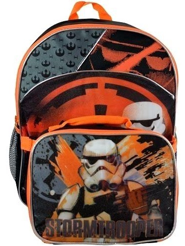 """Disney Star Wars   16/"""" Large School  Backpack  With Detachable Lunch Bag"""