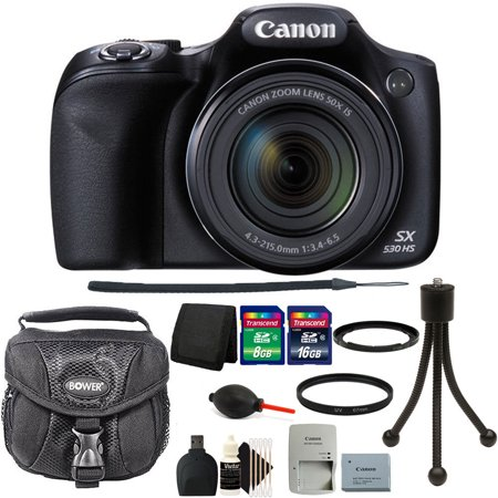 Canon PowerShot SX530 HS 16MP WiFi Digital Camera with 24GB Accessory Kit