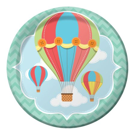 Club Pack of 96 Up, Up, & Away Hot Air Balloon Premium Paper Dinner Plates 9