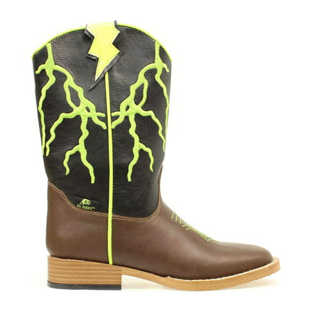 Cowboy Boots For Boys (Double Barrel Boys' Ace Lightning Bolt  Cowboy Boot Square Toe -)