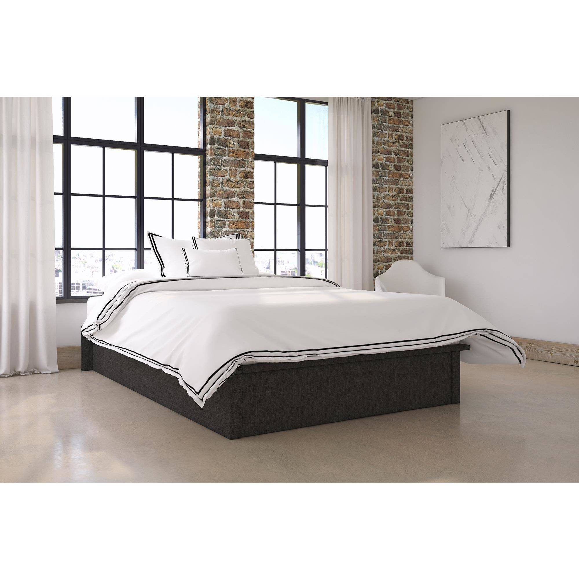 DHP Maven Platform Bed with Upholstered Faux Leather and Wooden Slat Support, Multiple Sizes and Colors by Dorel Home Products