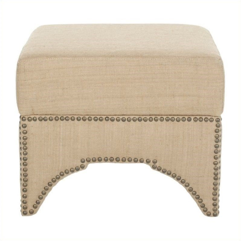 Safavieh Nixon Plywood and Jute Square Storage Ottoman in Beige