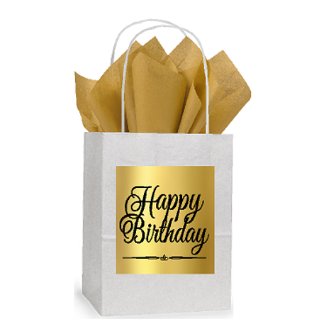 Happy Birthday White and Gold Themed Small Party Favor Gift Bags Stickers Tags -12pack](Golden Birthday Themes)