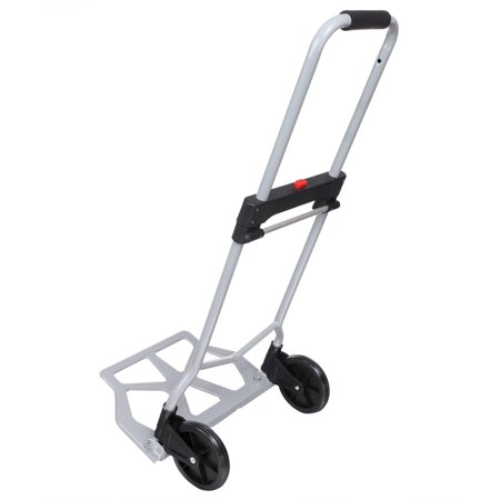 Portable Folding Hand Truck Dolly Luggage Carts, Silver, 220 lbs Capacity, Industrial/Travel/Shopping