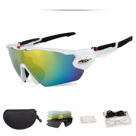 Emovendo Polarized Sports Sunglasses with 5 Lens and Short-sighted Lens Frame Anti-Fog Anti-UVA/UVB Glasses for Outdoor Activities Cycling Running Driving Hiking Fishing