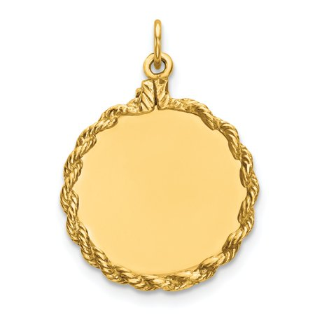 Sterling Silver Gold-Plated Engravable Round with Rope Polished Disc Charm (Round Engravable Pendant)