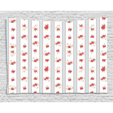 Shabby Chic Decor Tapestry, Vertical Borders Cute Rose Blossoms Cottage Country Home, Wall Hanging for Bedroom Living Room Dorm Decor, 60W X 40L Inches, Baby Blue Dark Coral Green, by (Cottage Chic Decor)